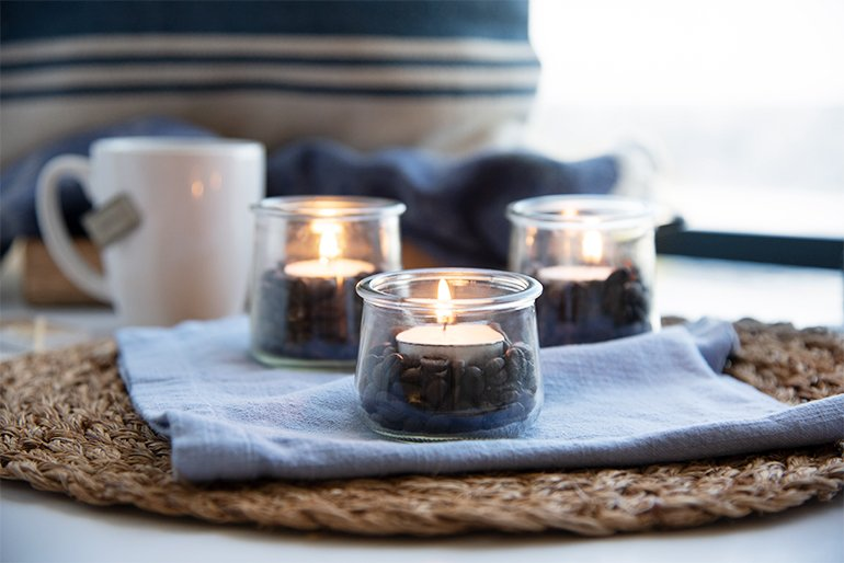 Oui Yogurt Jars with Coffee Beans and Candles for dinner party